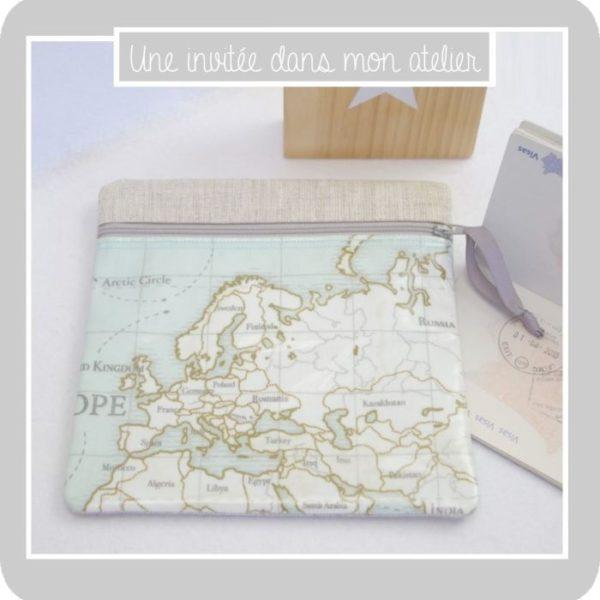 trousse de voyage-passeport-carte du monde-Europe-une invitée dans mon atelier-