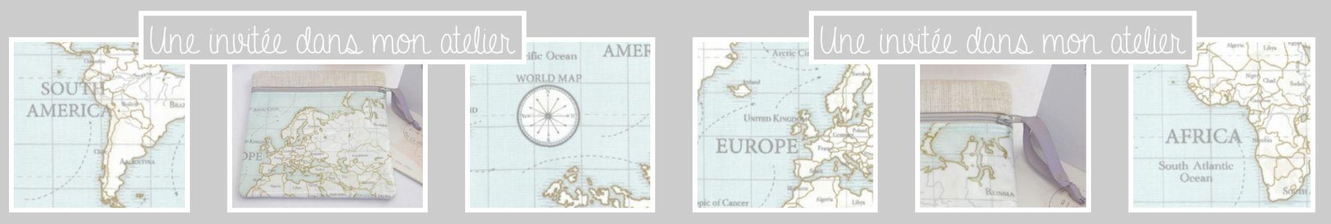 trousse de voyage-passeport-carte du monde-Europe-une invitée dans mon atelier