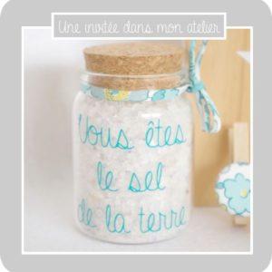 cadeau invité-contenant personnalisé-sel-vous êtes le sel de la terre-Liberty-betsy mojito-une invitée dans mon atelier