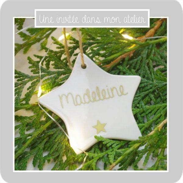 étoile-à suspendre-personnalisée-Noël-une invitée dans mon atelier