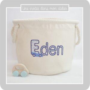 panier à jouets-pesonnalisé-petit format-Libery adelajda bleu